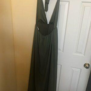 "07ac9db68e pretty little thing Dresses - ""Alina"" Khaki Plunge Maxi Dress"
